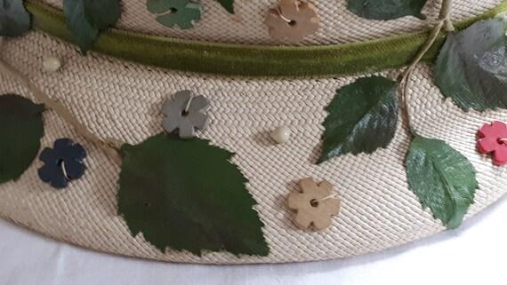 ELSA SCHIAPARELLI vintage hat, straw with appliqu… - image 9