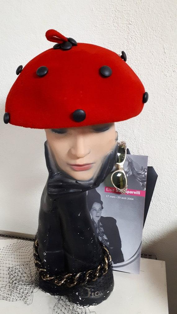 ELSA SCHIAPARELLI vintage hat, fifties, LADYBIRD … - image 2