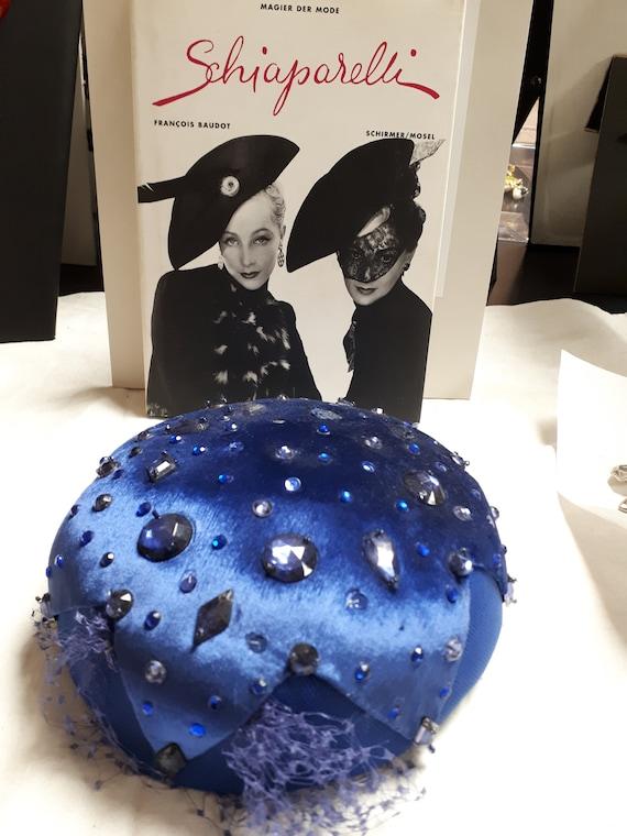ELSA SCHIAPARELLI haute couture royal blue cocktai