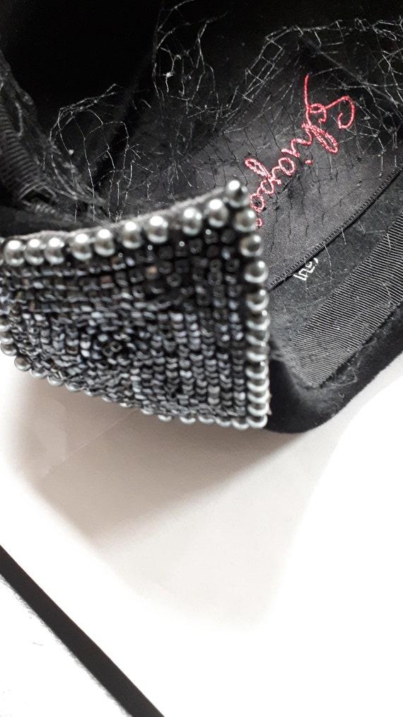 ELSA SCHIAPARELLI vintage cocktail hat, black sil… - image 9