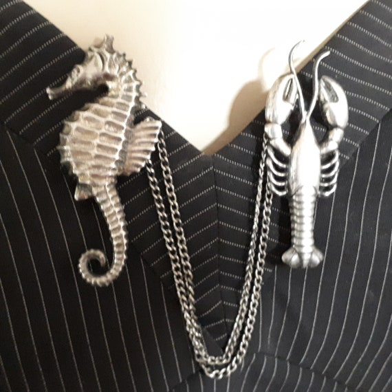 STERLING SILVER sweater guard, lobster and sea-hor