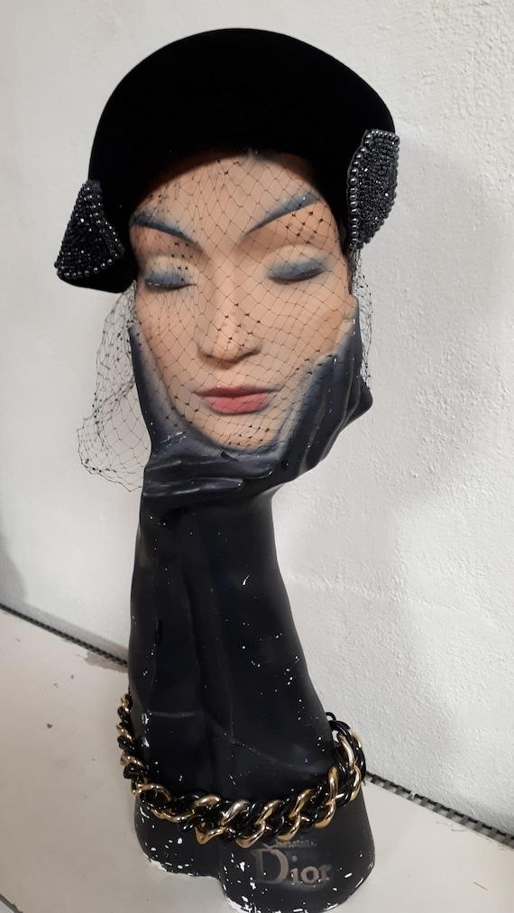ELSA SCHIAPARELLI vintage cocktail hat, black sil… - image 7