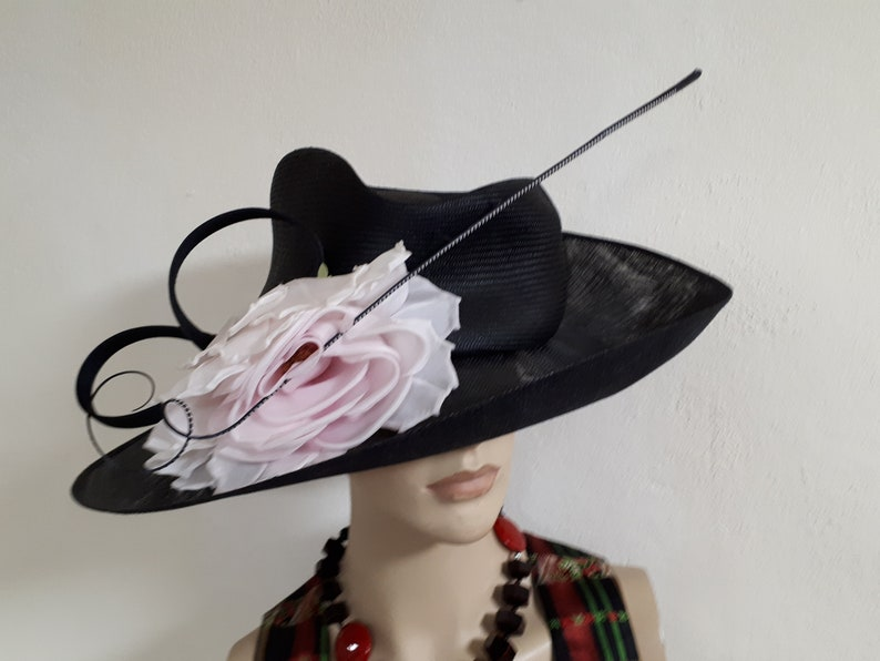 Philip TREACY large straw hat black rose pink flower long  e32970ffd79b