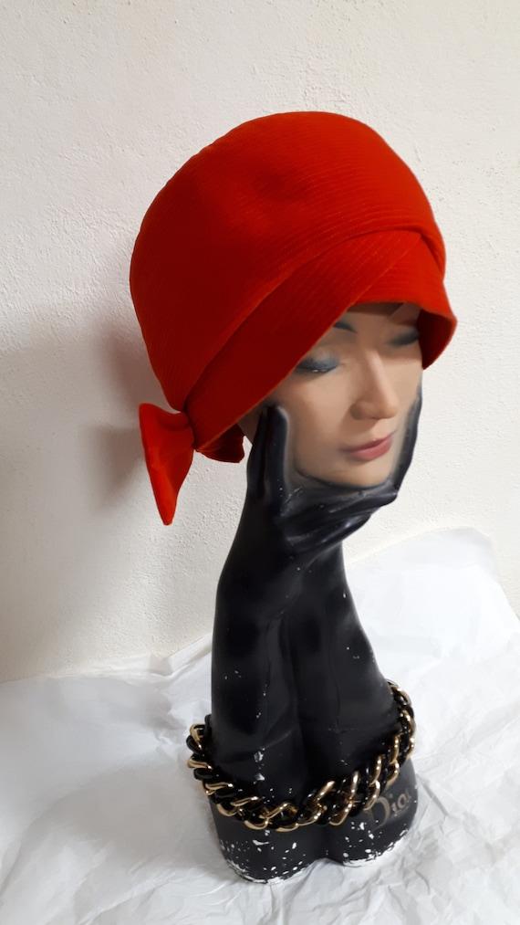 ELSA SCHIAPARELLI, haute couture hat, RED velvet,… - image 3