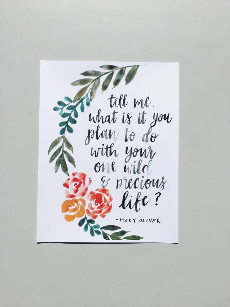 Handmade Watercolor Floral Calligraphy Print 8x11 5 Etsy