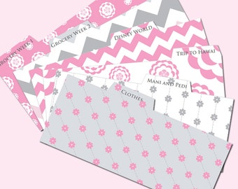 Printable Tabs for Cash Envelope System - Budget Helper - Pink and Gray/Chevron and Flowers by Pretty Finances
