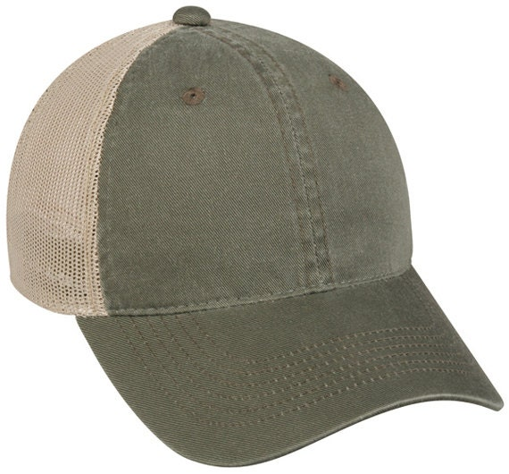 9035a5d4ab3 Olive Tan Embroidered Trucker Hat Monogram Trucker Cap.