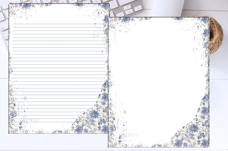 image regarding Printable Stationary With Lines called Printable Stationary Paper / Blue Toile / Covered And Unlined / Printable Stationary / Obtain Stationery /A4 8.5 x 11 / PDF