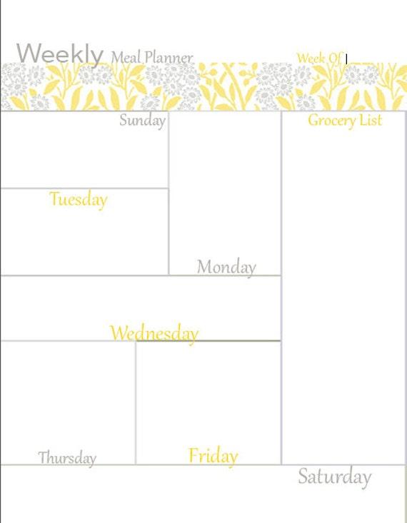 editable weekly meal planner    meal organizer    meal planner