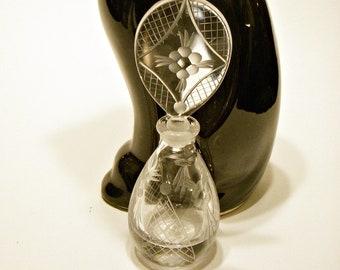 Labeled-hand Cut-unusual Color Supply Vintage Black Czech Perfume Bottle Antiques