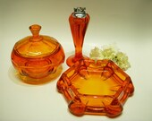 VIKING GLASS PERSIMMON Ashtray Set Orange Glass Tall Table Lighter