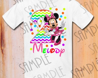 T Shirt Disney Minnie Mouse Iron On Transfer Printable Birthday Girl Digital Download Personalized Mickey Party