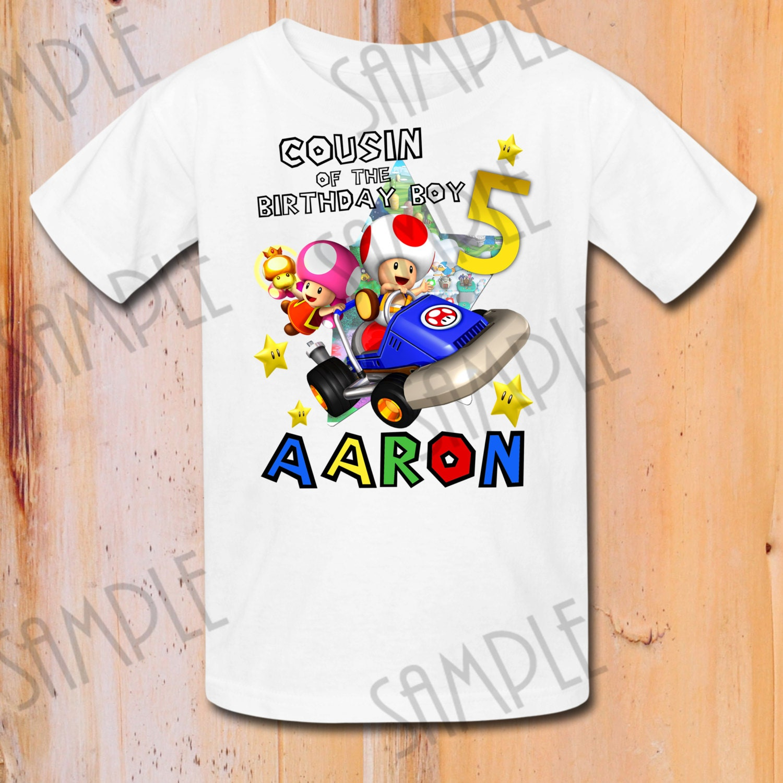 Camisas de personalizados Mario Bros fiesta de cumpleaños de