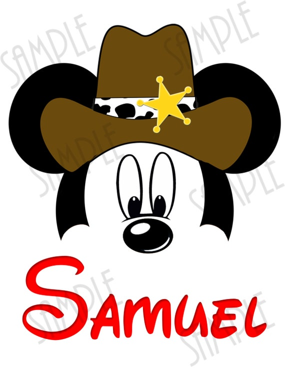 Camiseta Disney Mickey cabeza con sombrero de vaquero de | Etsy