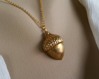 Golden Acorn Necklace - Brass Acorn, Gold Necklace,