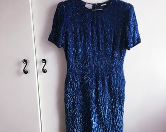 7a140479eea vintage 80s blue sequin party dress (medium) – free us shipping