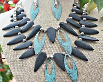 Black Stone, Aqua Metal Necklace Set