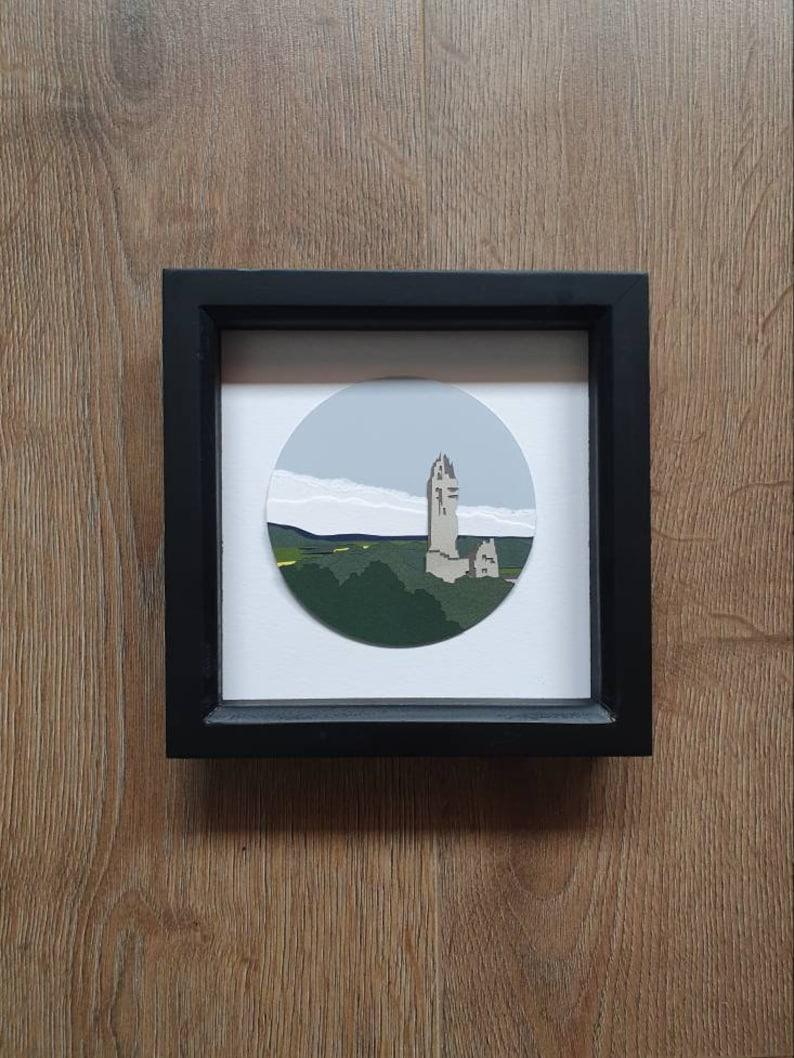 11cm Wallace  Monument Original Paperart Stirling Scotland Landscape Landscapeart Paper Papercut Papercraft Handmade Handcut Miniature