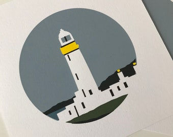 Eilean Musdile Lighthouse,  Scotland,  Screenprint, Landscape, Handpulled, Sea, Isle, Gift