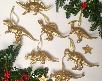 1 x dinosaur christmas ornament gold dino christmas bauble christmas tree decoration coworker gift dino decor stocking filler - Dinosaur Christmas Decorations