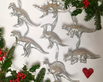 1 x dinosaur christmas ornaments silver dino christmas baubles christmas tree decorations coworker gift fun christmas dino decor - Dinosaur Christmas Decorations
