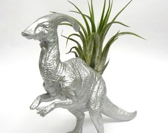 Silver Parasaurolophus Dinosaur Planter with Air Plant // Coworker Gift // For Her // For Him