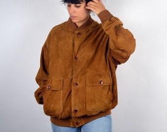 4eacbc22e85a Vintage 80er Jahre PAUL SMITH Wildleder Jacke Bomber Stil Braun Orange Leder  rustikale Hippie Boho Mantel Blazer Retro Männer Herren Damen XL L übergroße