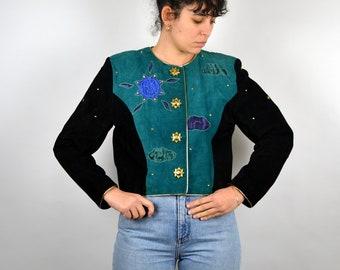 7cfbd9bde1c DINO'Z Jacket RARE Vintage 80s Fitted Suede Nubuck Jacket Crop Women  Shoulder Pad Black Blue Green Gold Buttons Leather Boho Blazer Retro M