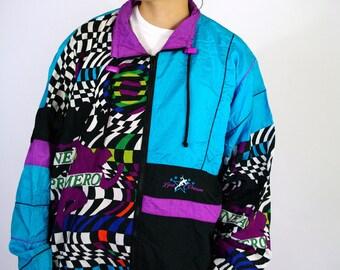 Vintage 80s Sport Sweat Suit Windbreaker Tracksuit Color Block Old school  Jacket Trainer Neon Fluo Blue