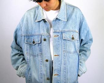 Vintage 80s 90s JOHN F.GEE Jean Jacket Light Blue Denim Bomber Style Crop Retro Grunge  Men Mens Women M Medium
