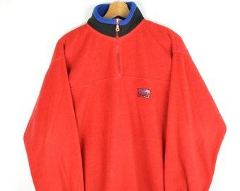 Vintage 90s - Classic Red Half Zip Fleece - Size L - Cozy Red Fleece Half Zip Sweatshirt 90s Vintage Mountain Sweater Snow Warm Winter Pull