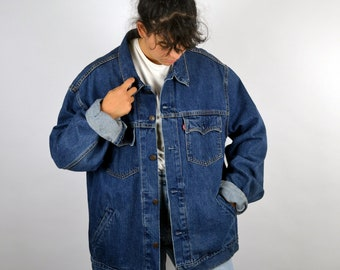 Vintage 90s LEVI S Jean Jacket Blue Denim Bomber Style Grunge Punk Aged  Rugged Worker Retro Men Mens Women Womens XL Large Oversized 47243a982a