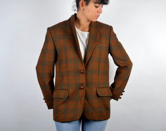 21585980134 Vintage 90s Women Suit Jacket Work Working Shoulder Pad Light Women's Jacket  Classic Fitted Fit Scottich Pattern Checked Retro M L Large