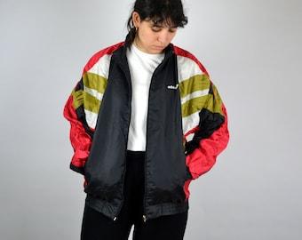 7e37845d4 90s Adidas shell Jacket Track Jacket Vintage 80s hip hop clothing  Windbreaker Tracksuit Oldschool Jacket Trainer color block Zip L M