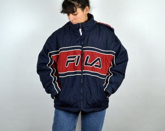 37f41c064768 FILA Jacket Coat Sport Jacket Sportswear Vintage 90s hip hop clothing  Oldschool Trainer Color block Zip Men Mens Women M L Large