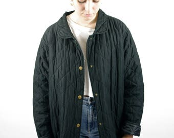 4ce281c6e2 Vintage 90s Black Long Jacket Coat Classic Spring Autumn Light Quilted Chic  Hippie Retro Women Womens L Large XL