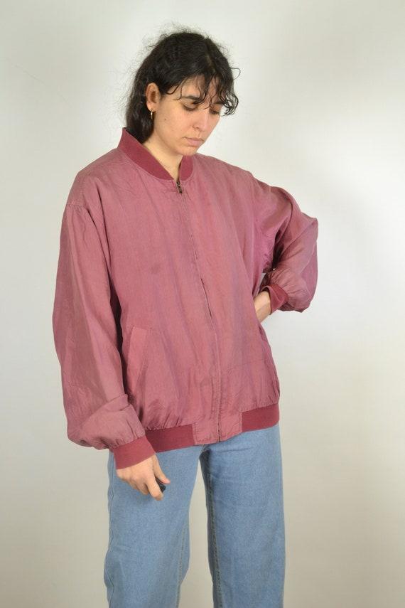 Vintage 80s - Pastel Red Pink Silk Bomber Jacket … - image 6