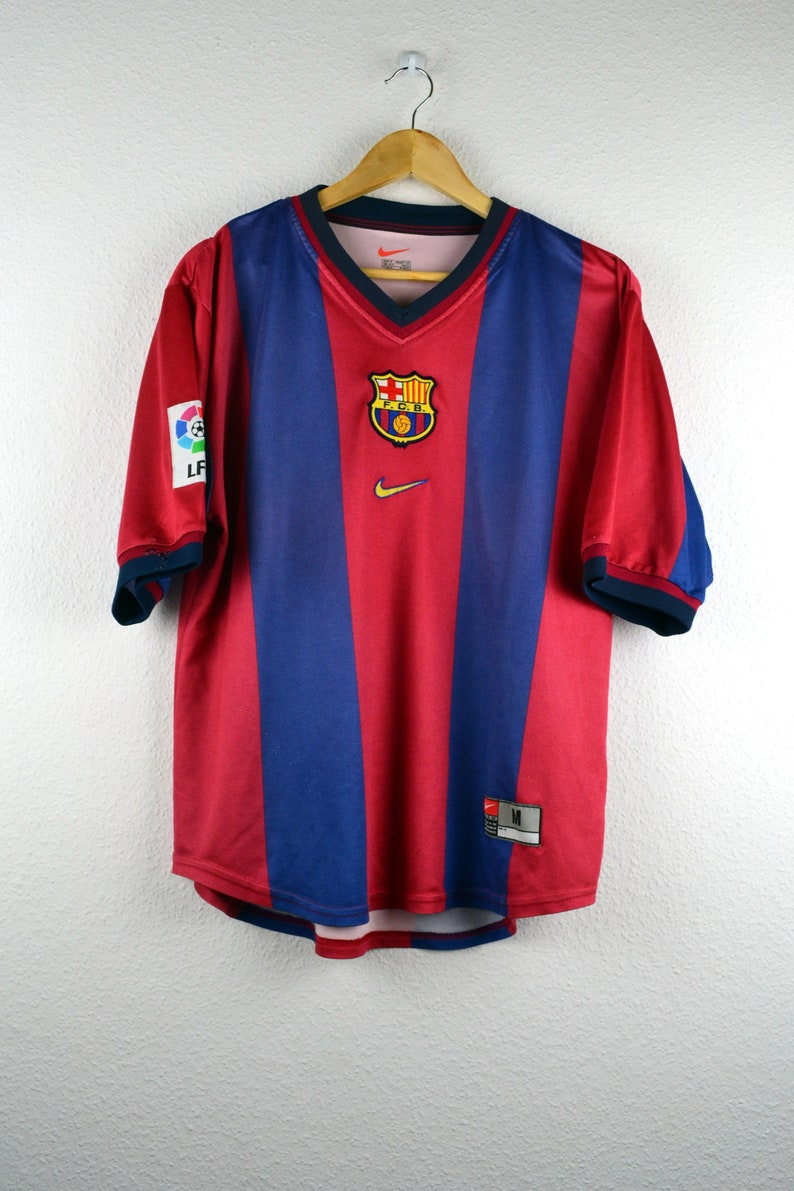 best service b863c 9f4d4 Official Nike FC BARCELONA T-Shirt football team 2000/01 Foot Jersey Soccer  Jersey Retro Men's S M