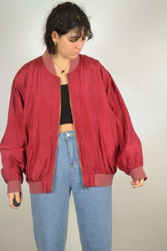 Vintage 80s - Red Silk Bomber Jacket - Size L - S… - image 3