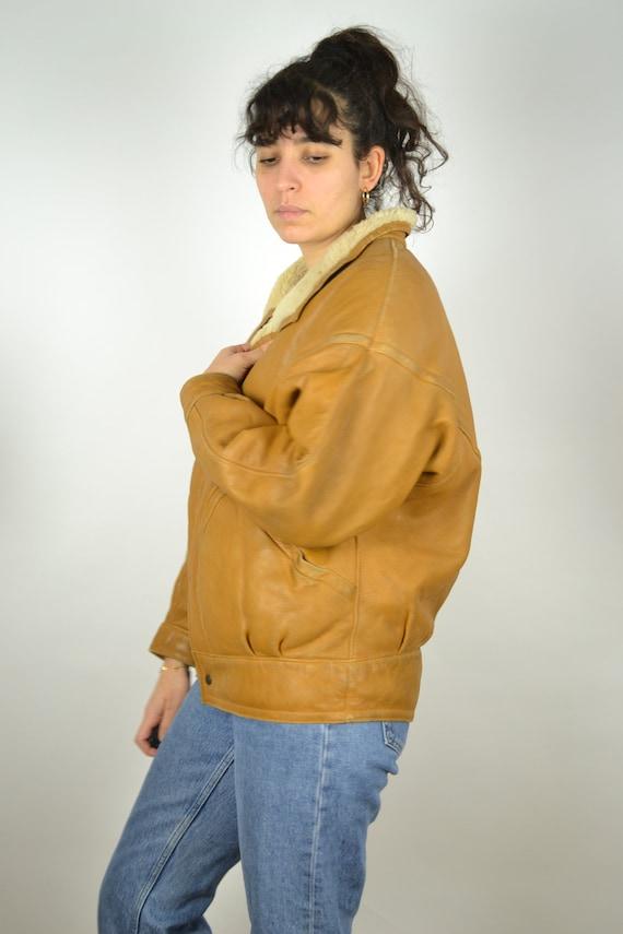 REAL 70s Sheepskin Vintage Bomber Jacket 70s Oran… - image 7