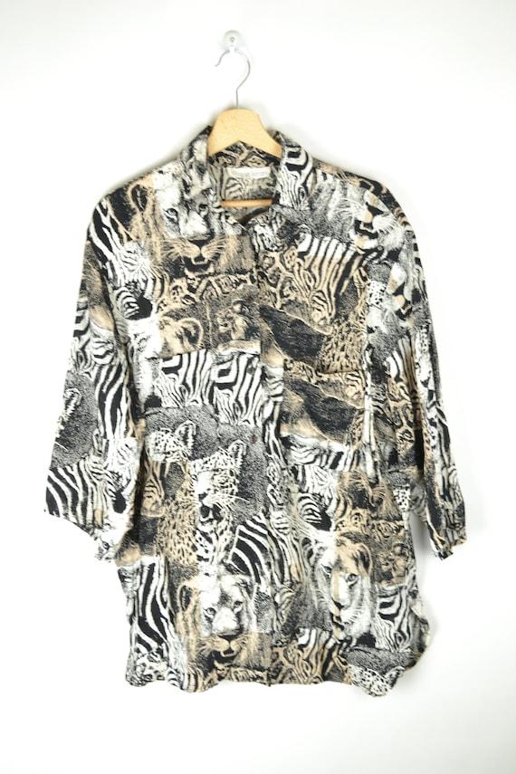Jungle Shirt Safari Shirt Turquoise Purple Tiger Lion Zebra Antelope Print Button Up Blouse Size L-XL