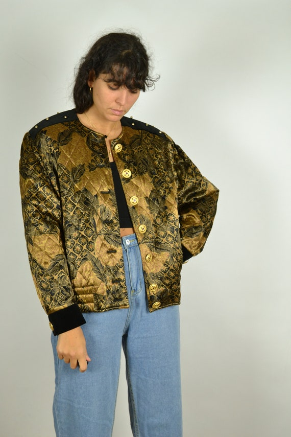 80s Golden Quilted Women Jacket 80s Gold Jacket 80