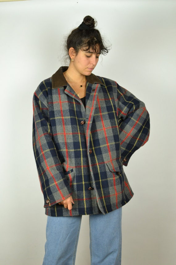 80s 90s Long Checkered Pattern Coat Large L