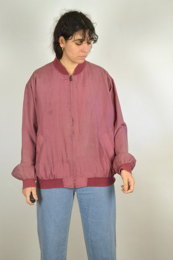 Vintage 80s - Pastel Red Pink Silk Bomber Jacket … - image 5