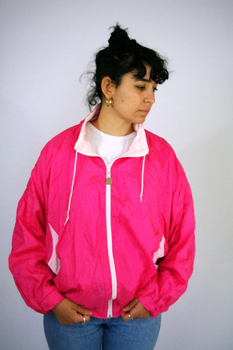 89699756a Vintage 80s 90s Shell jacket Sweat Suit Sport Sportswear Windbreaker Track  Tracksuit Old school Jacket Trainer Neon Fluo Pink Zip Women M L