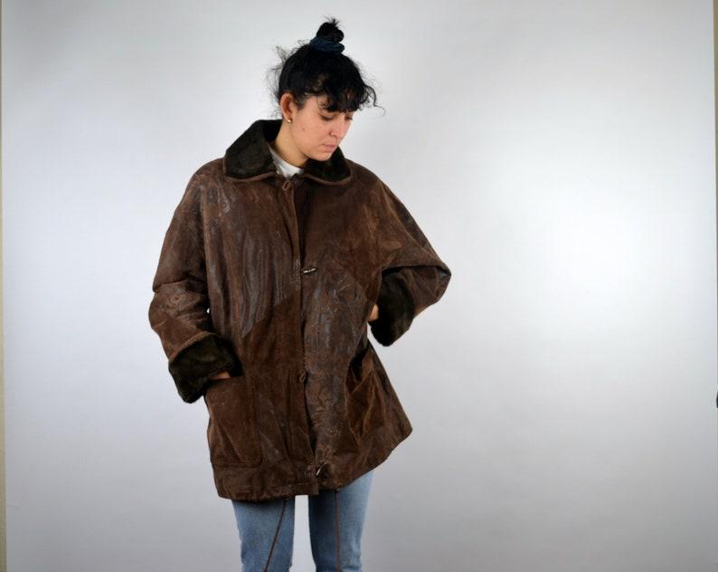a7d690ffe Sheepskin Shearling Jacket Faux Fur Suede Leather Coat Winter Boho Hippie  Retro M L Large