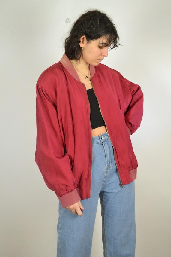 Vintage 80s - Red Silk Bomber Jacket - Size L - S… - image 2
