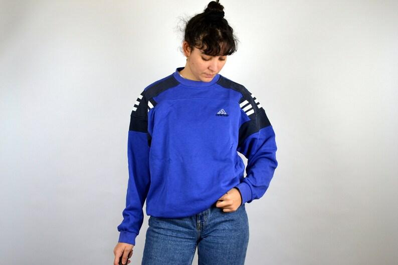 Adidas Blue Sweater Vintage 90s hip hop clothing Sweatshirt Pull Sport  Jumper Crewneck Outshirt Big Logo Spell Out Men Mens Women M