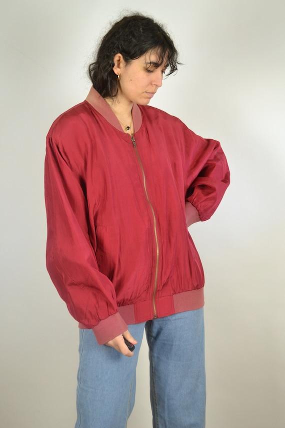 Vintage 80s - Red Silk Bomber Jacket - Size L - S… - image 5