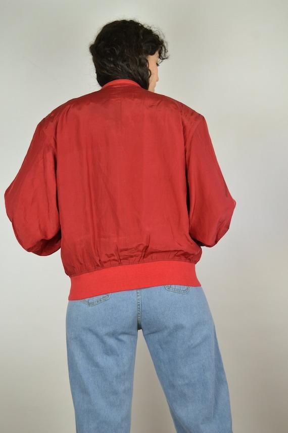 Vintage 80s - Red Silk Bomber Jacket - Size S/M -… - image 7